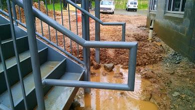 ADA steel stair railings with pickets