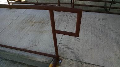 two line Steel ADA top of stair rail
