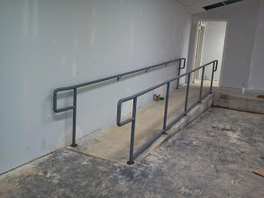two line ADA handrails with wall rail