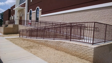 Steel ADA handrailings for a church in Raleigh NC.