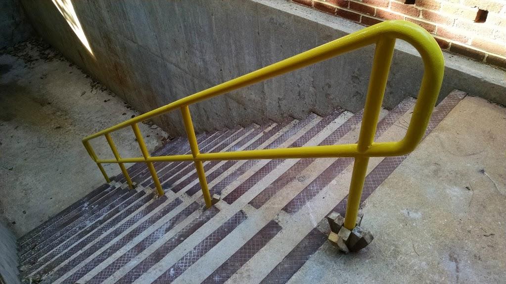 yellow color ADA steel stair handrail