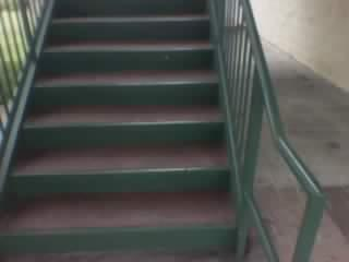 ADA steel railings for a steel stairway. steel pipe railings