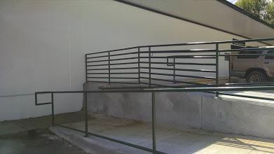 wheelchair ramp steel handrail