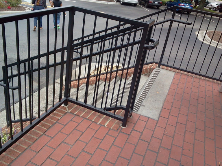ADA square steel railings with ADA top ends and griprails.
