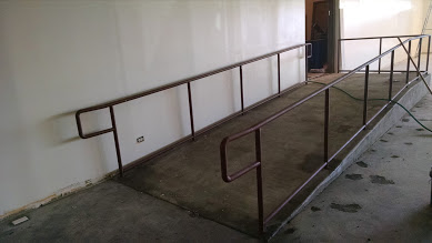 two line style ADA ramp railing built in statesville, nc. steel pipe railings